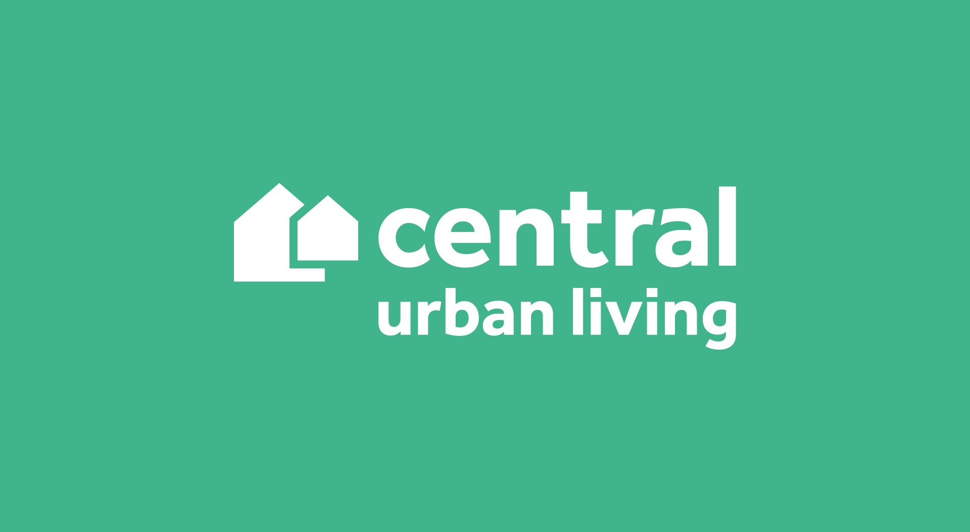 Central Urban Living logo design in white