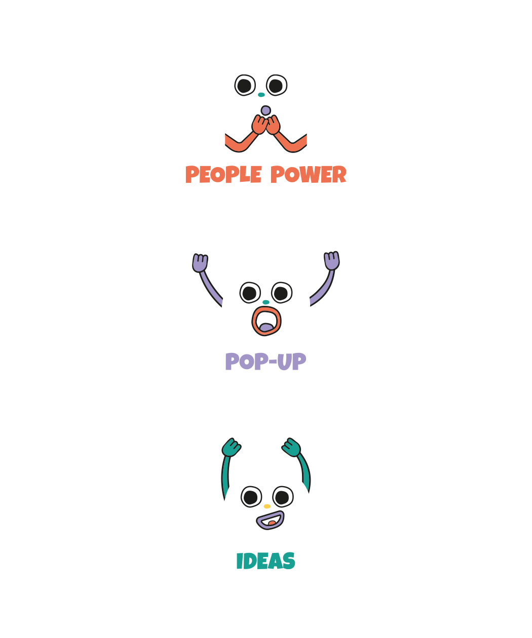 face icon for people power, pop-up and ideas