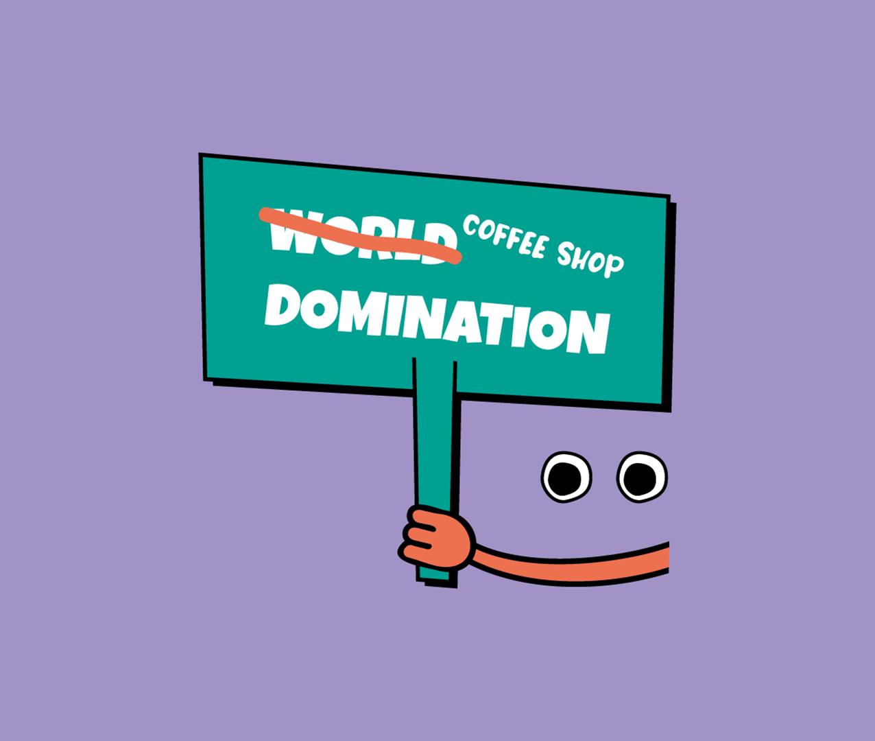 world coffee shop domination icon design