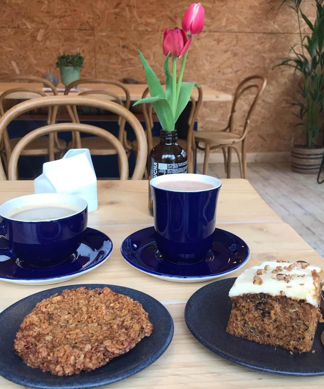 cake and coffee at Garden Social coffee shop
