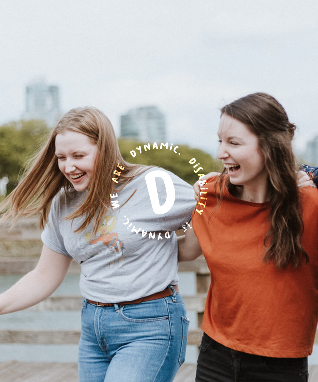 Brand image of happy people with icon overlay