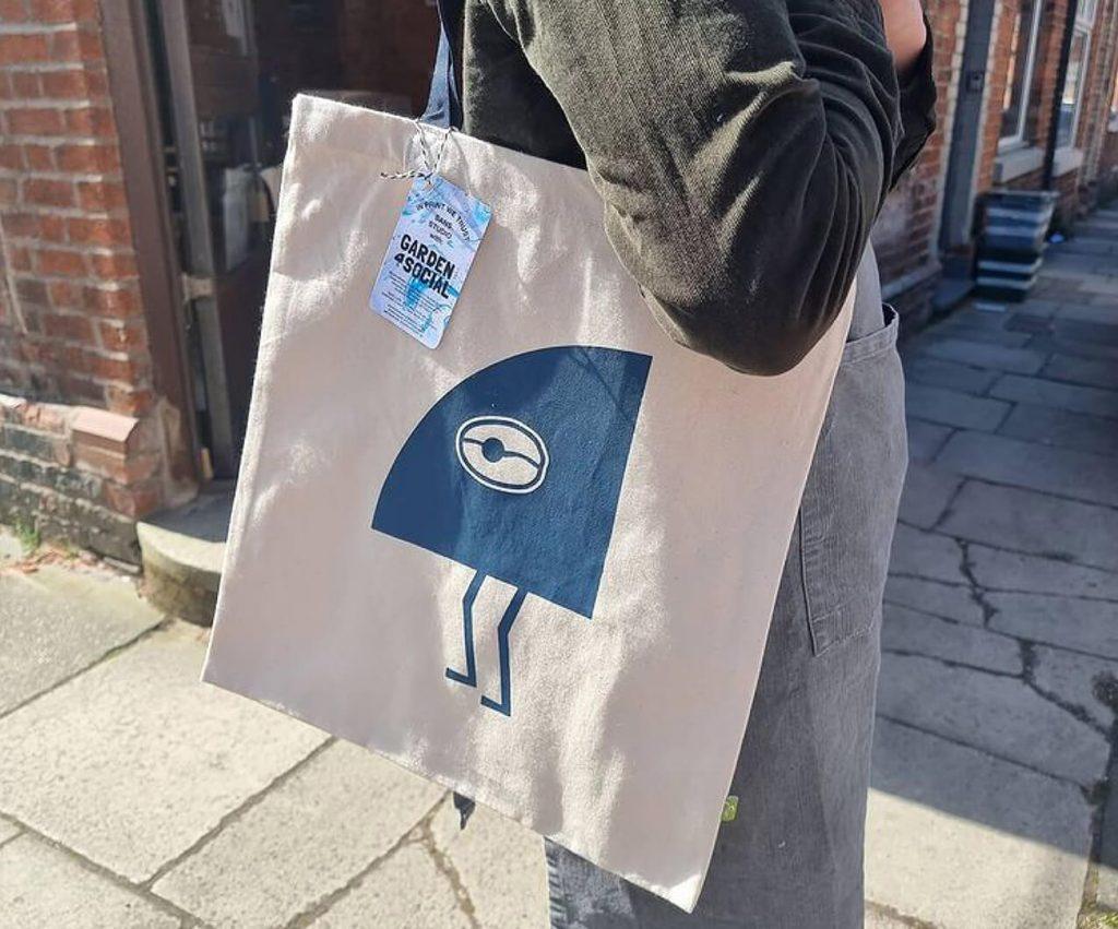 branded coffee shop tote bag