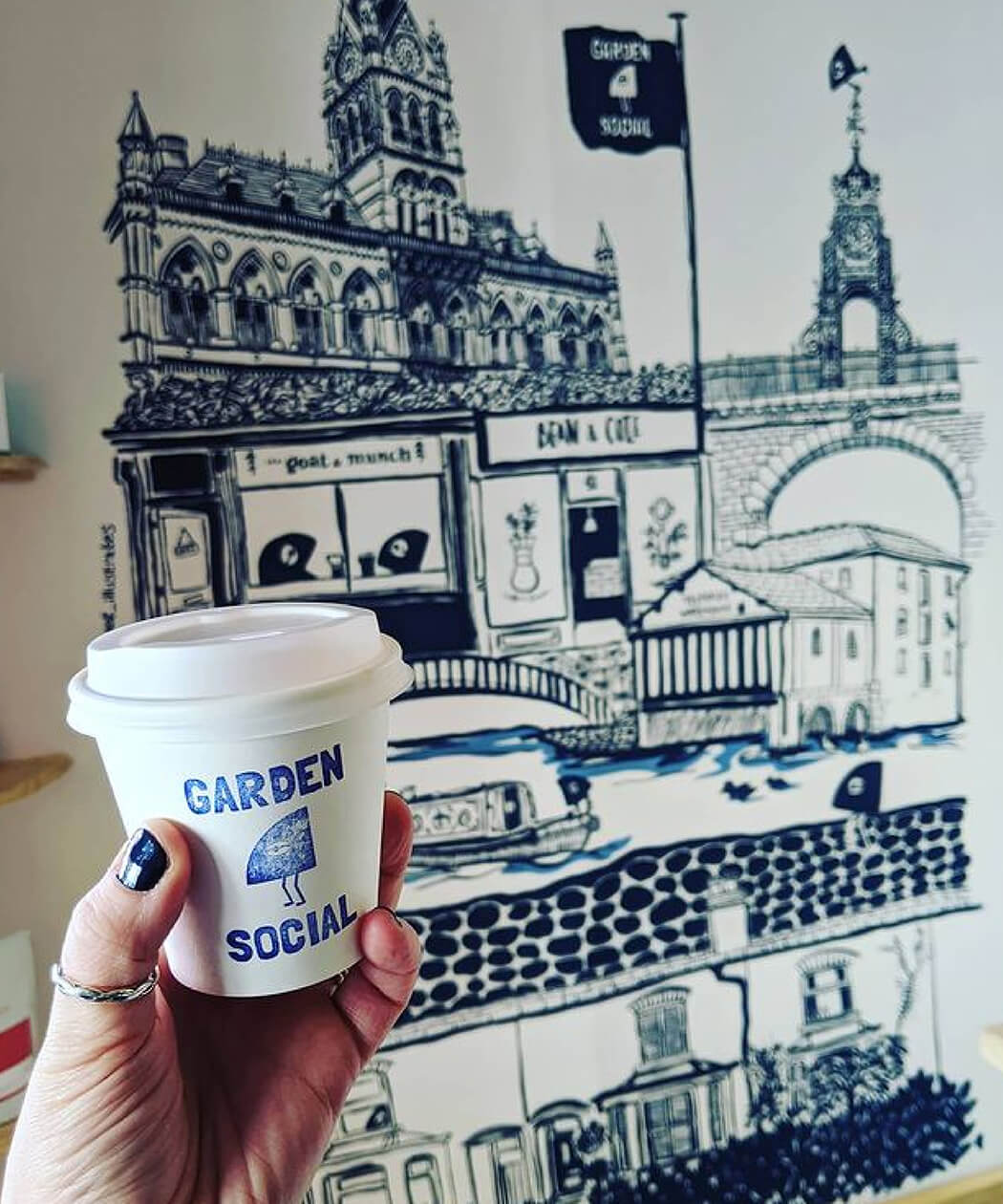 coffee shop brand mural