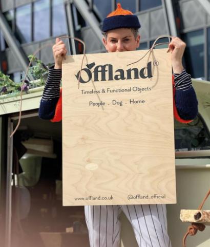 Offland branded wooden signage