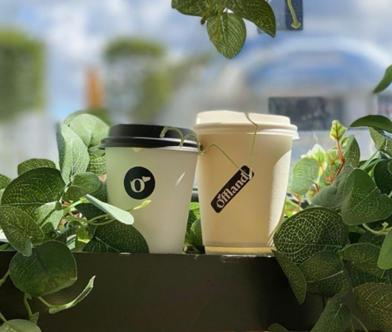 Offland branded coffee cups