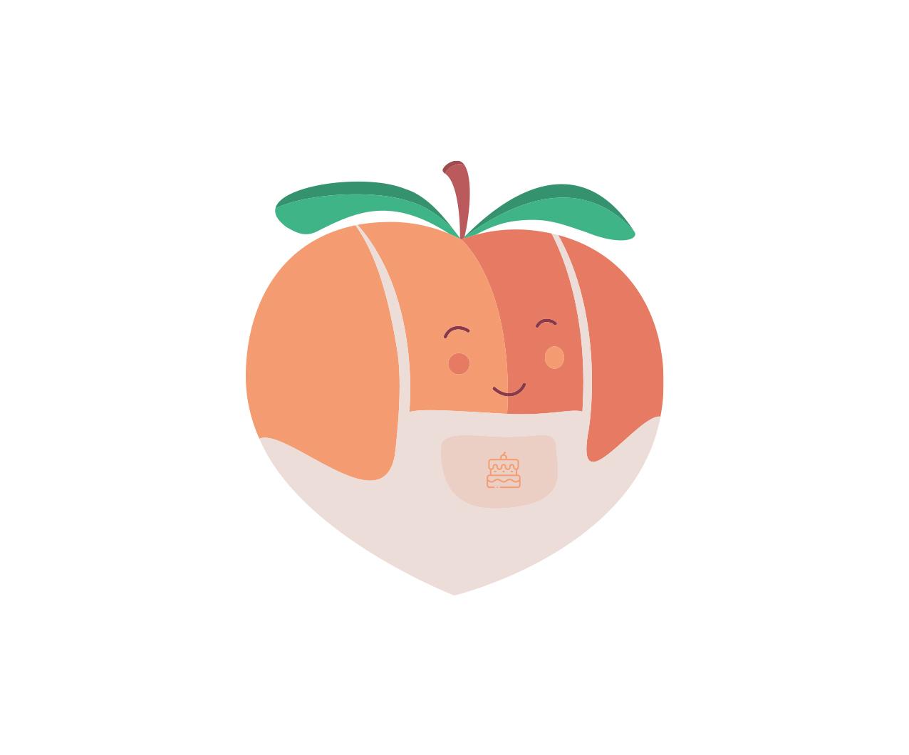 Peach Patisserie peach in apron brand icon design