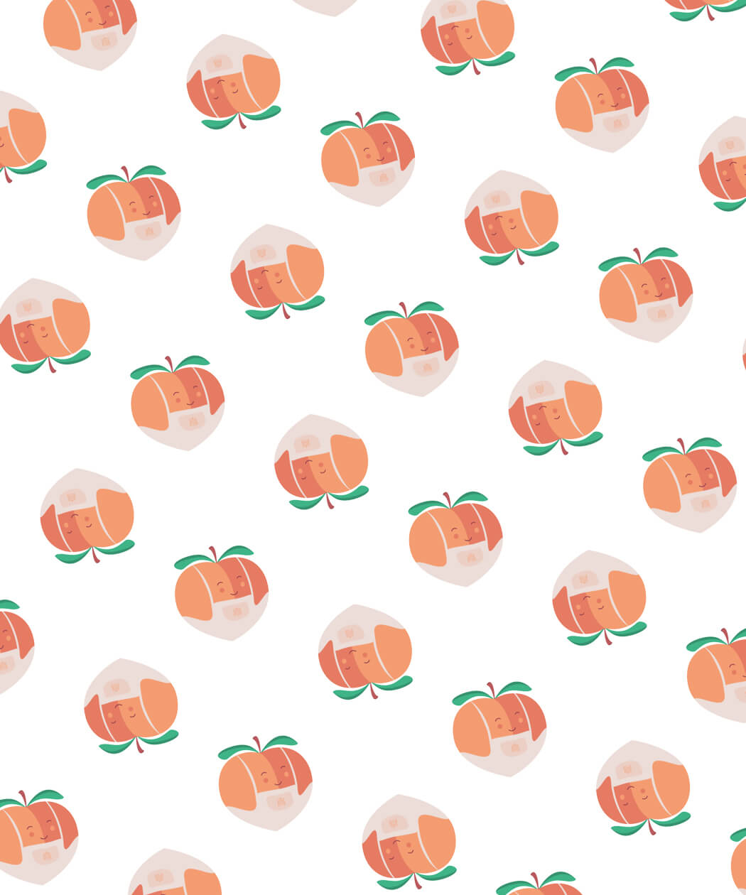 Peach Patisserie repeat icon pattern design for print