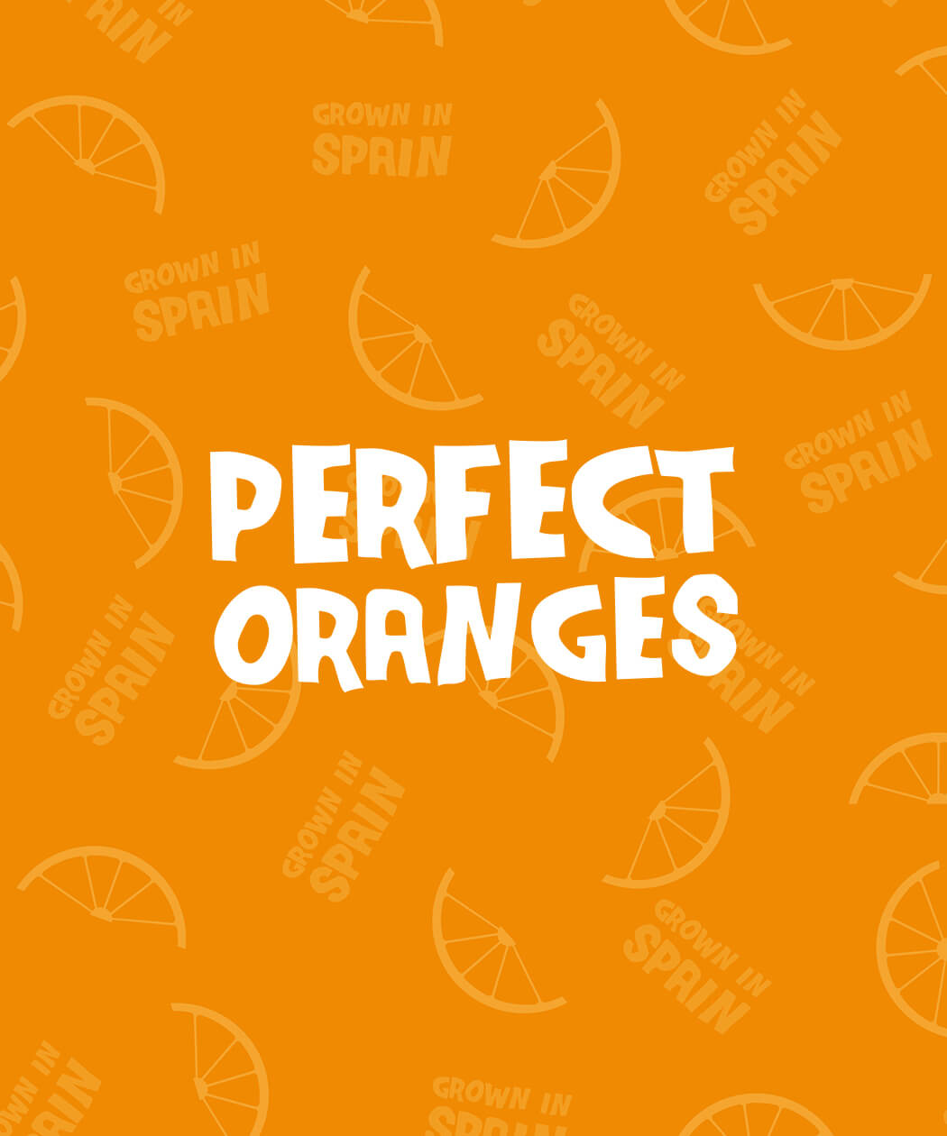 text logo design on orange slice pattern background