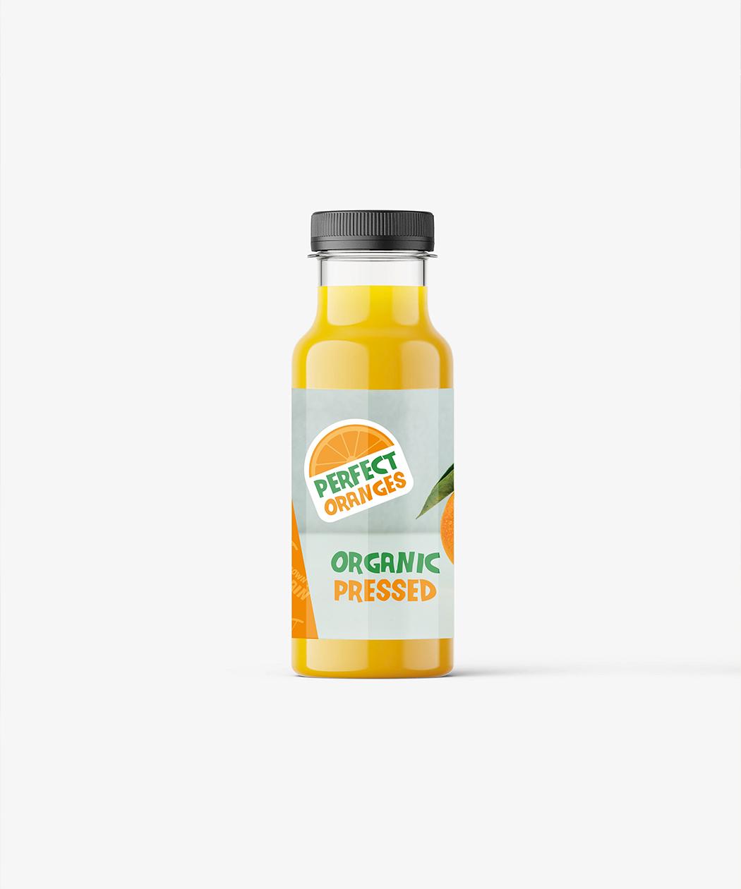 orange juice label design on bottle