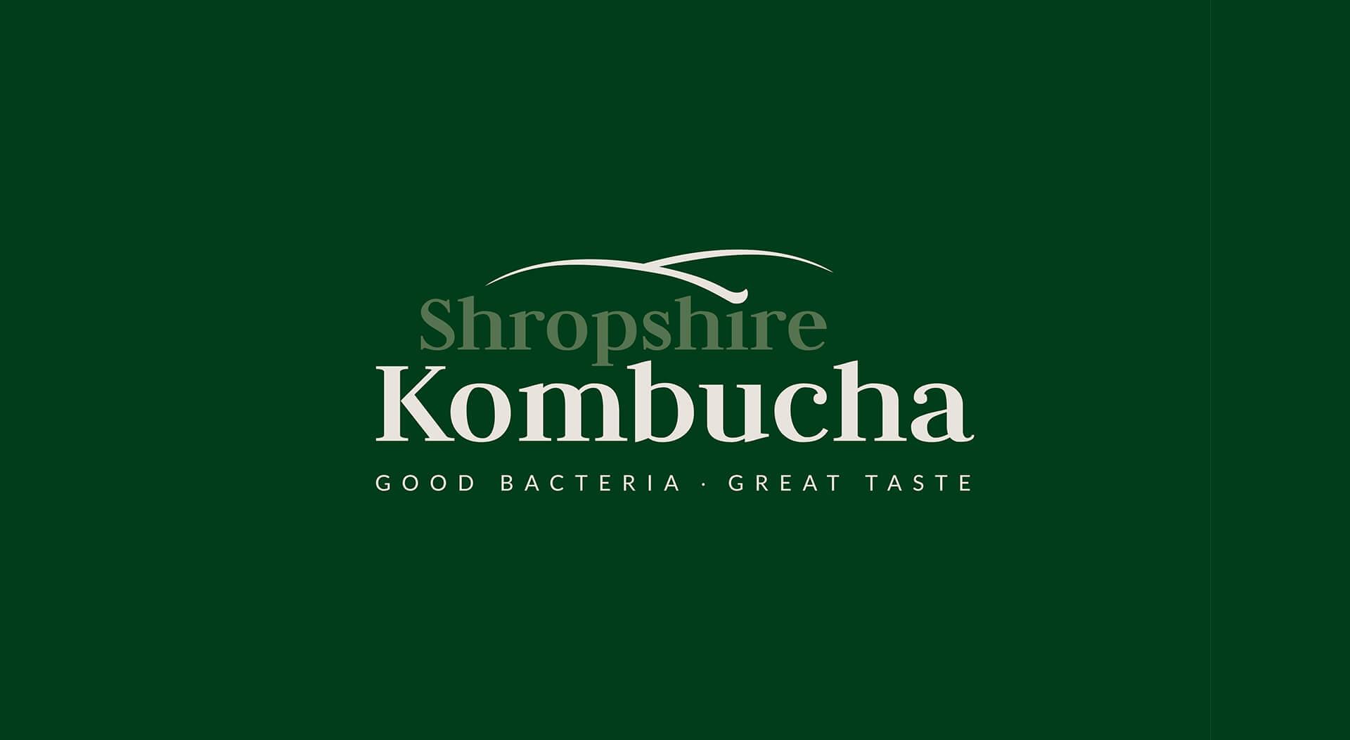 Shropshire Kombucha logo design on green