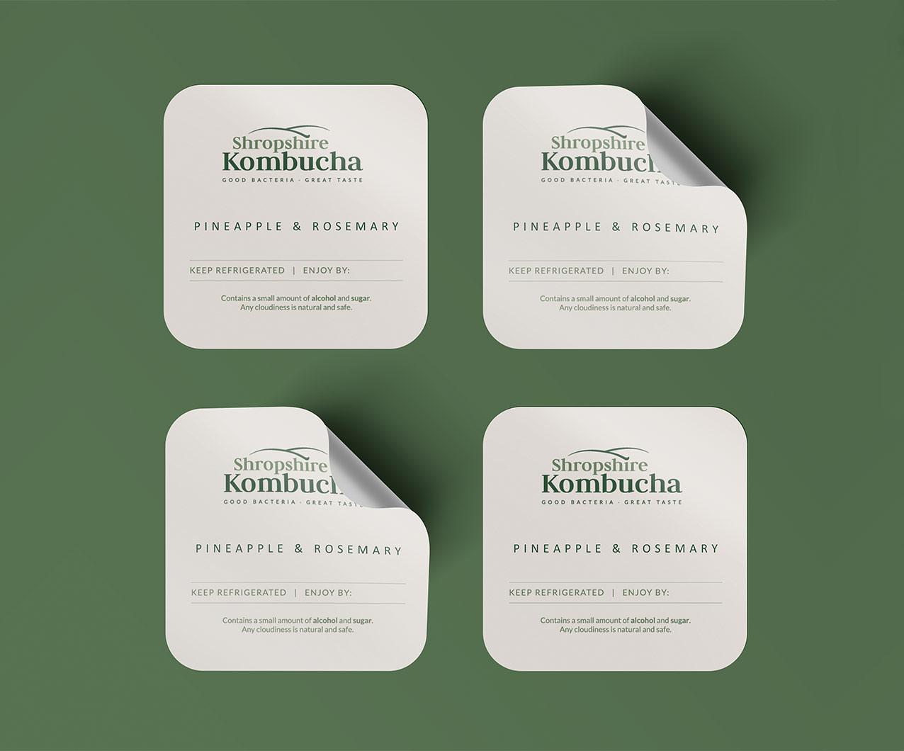 Shropshire Kombucha bottle label designs