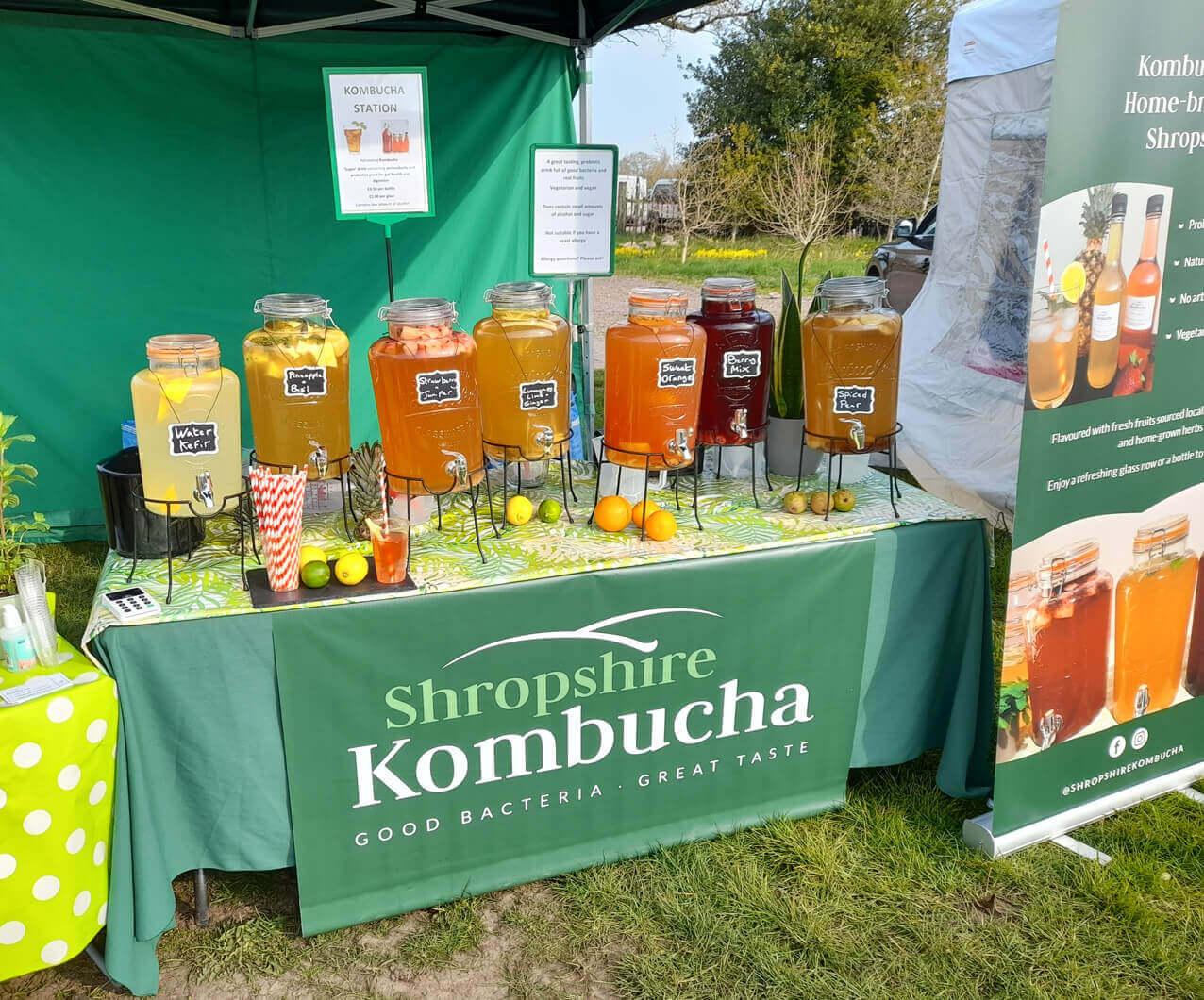 branded Shropshire kombucha market stand